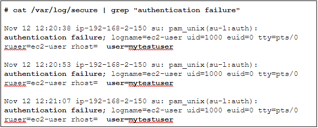 Check the /var/log/secure file contains information about security-related events, including authentication success or failures and the IP addresses where the requests came from. It also tracks the sudo and SSH login attempts and other security related errors.