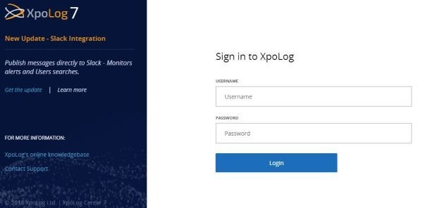 A message will be displayed saying security is being configured. After the process completes, XpoLog Center 7 reloads in browser window prompting for username and password.
