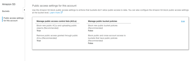 Unlike buckets, AWS console does not show which S3 files or folders are public. It's therefore recommended to not use the feature at all and block it from account level