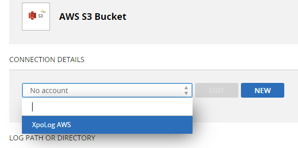 Select the S3 bucket account from the list