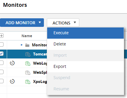 manually run, delete and export a monitor's definition to XML format, or suspend one or more monitors from the monitor console