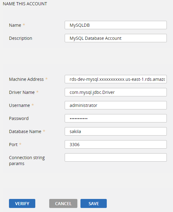 	Specify the account details for the database instance