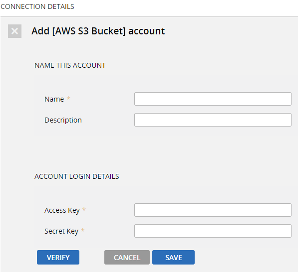 "click ""NEW"", and then provide the AWS API credentials to create the account."