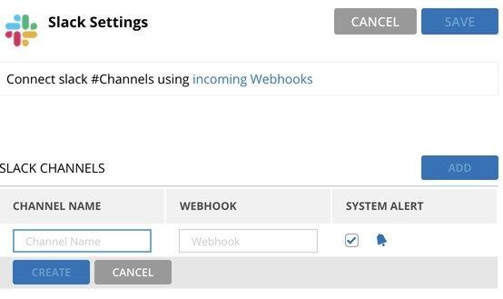 Slack settings - monitoring configurations