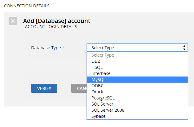 "	In the ""Add [Database] account"" section, choose MySQL"