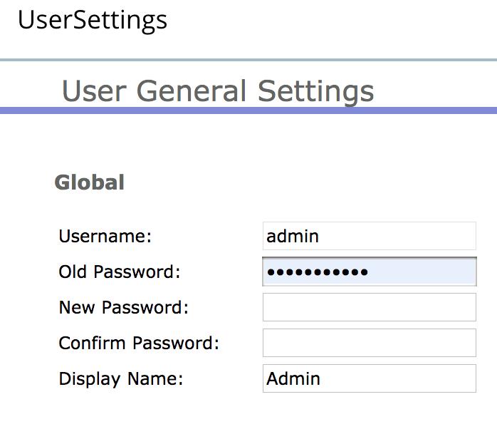 "To change user passwords, choose ""User General Settings"" menu:"