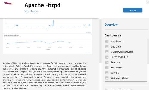 Get immediate apache insights and other logs statistics and insights with ready to use log analysis apps which visualizes automatically your log data into dashboards and reports