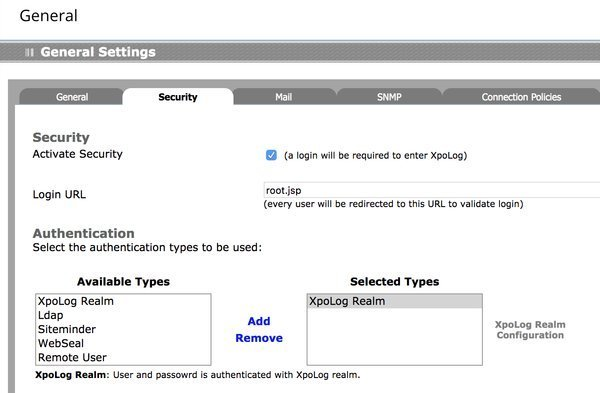 enable/disable security and choose an authentication mode