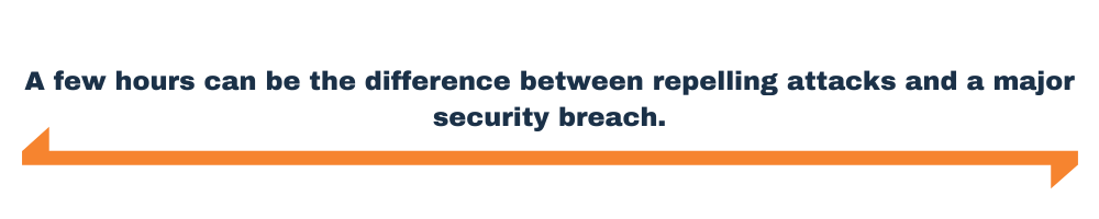 A few hours can be the difference between repelling attacks and a major security breach.