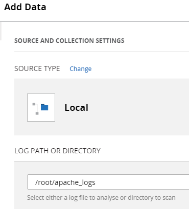 Uploaded Apache log file to XpoLog 7 running on the same server where we installed Logstash: